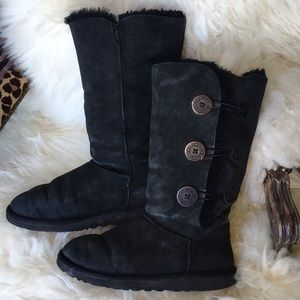 Ugg Bailey Button Triplet Black Boots 8